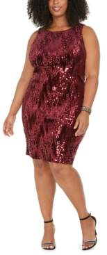 Emerald Sundae Trendy Plus Size Sleeveless Sequin Velvet Sheath Dress