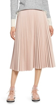 Halogen X Atlantic-Pacific Pleated Croc Faux Leather Midi Skirt