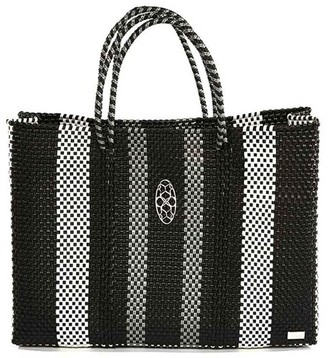 Lolas Bag Black White Book Tote Bag With Clutch