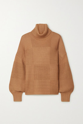 STAUD Benny Ribbed-knit Turtleneck Sweater - Camel