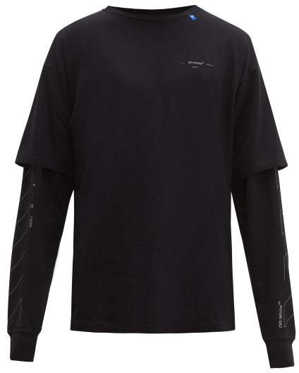 Off-White Off White Unfinished Logo Layered Sleeve Cotton T Shirt - Mens - Black Silver