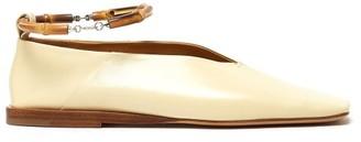 Jil Sander Bamboo Ankle-bracelet Leather Ballet Flats - Womens - Cream