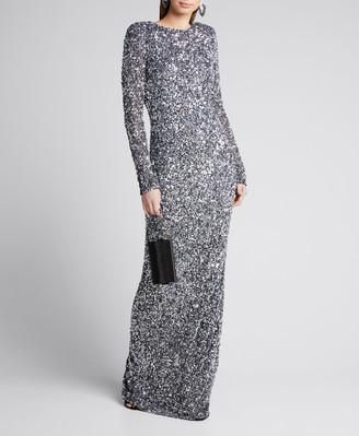 Rachel Gilbert Mixed Sequined Long-Sleeve Column Gown
