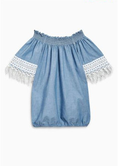 Replay Off The Shoulder Denim Top with Lace - XS - Blue