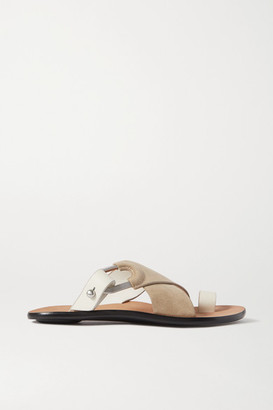Rag & Bone August Suede And Leather Slides - Taupe