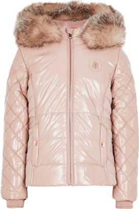 River Island Girls Pink high shine puffer jacket
