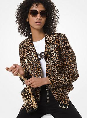 Michael Kors Leopard-Print Leather Moto Jacket