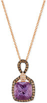LeVian Le Vian Chocolatier® Amethyst (3-1/4 ct. t.w.) and Diamond (3/8 ct. t.w.) Pendant Necklace in 14k Rose Gold