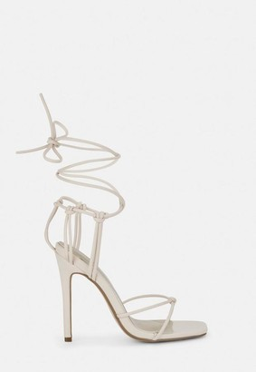 Missguided Nude Square Toe Strappy Knot Heels