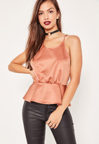 Missguided Pink Satin Cross Gather Back Cami Top