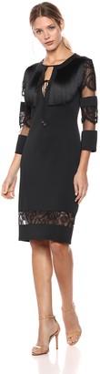 Tadashi Shoji Women's 3/4 Sleeve Neoprene Fringe Dress