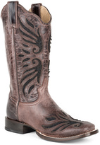 Roper Brown Lace Inlay Leather Cowboy Boot