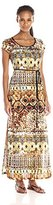Tiana B Women's Tribal Printed Ity T-Shirt Maxi Dress. Solid Ity Belt, Short Sleeves