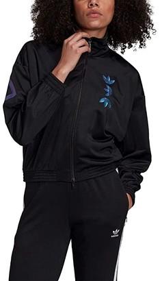 adidas Large Logo Track Jacket (Black/Royal Blue) Women's Clothing