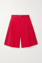 RED Valentino Belted Pleated Crepe Shorts