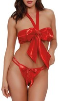 Dreamgirl Wrapped Bow Bra & Crotchless Panty Set