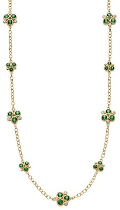 Temple St. Clair 18K Yellow Gold, Diamond & Emerald Trio Necklace