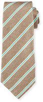 Isaia Twill Rope-Striped Tie, Tan/Aqua