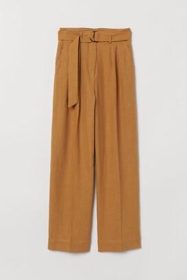 H&M Linen-blend paper bag trousers