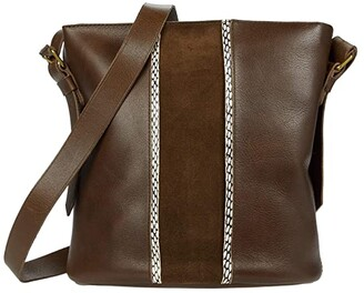 Madewell The Transport Bucket Bag: Suede and Cobra Stripe Edition (Darkest Olive Multi) Handbags