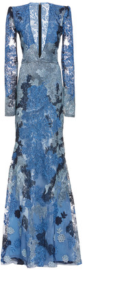 Naeem Khan Metallic Lace Gown