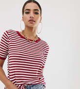 boohoo Stripe T-Shirt With Contrast Collar