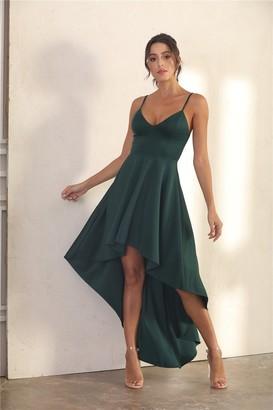 Miss Floral Spaghetti Strap Slip Dress With Ruffle Asymmetric Hem