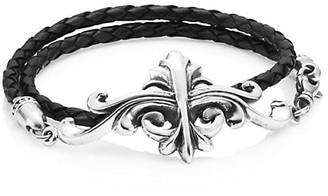King Baby Studio Armor Sterling Silver & Leather Double Wrap Bracelet
