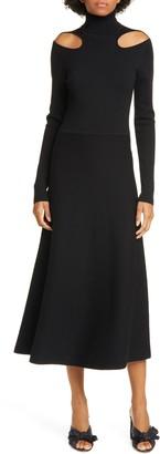 Jason Wu Cutout Long Sleeve Merino Wool Midi Sweater Dress