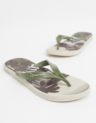 Ipanema Posto Palm flip flops in khaki