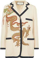 Gucci Appliquéd Wool And Silk-blend Blazer - Ivory