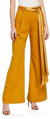 Jonathan Simkhai Luxe Wool Wide-Leg Belted Pants
