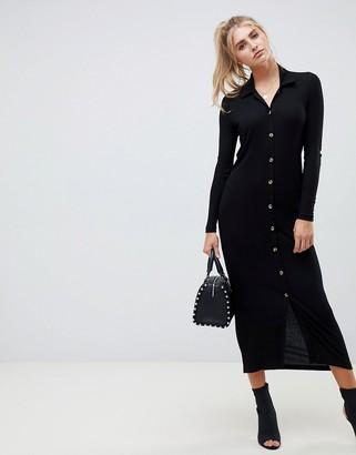 Asos Design DESIGN rib maxi polo shirt dress with buttons-Black