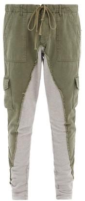 Greg Lauren Baker Two-tone Cotton-blend Cargo Trousers - Khaki