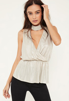 Missguided Gold Metalic Choker Neck Blouse