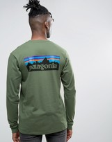 Patagonia Long Sleeve Top P-6 Back Logo Regular Fit In Buffalo Green