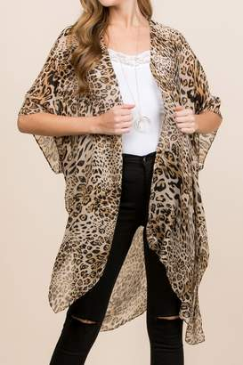Riah Fashion Leopard Print Kimono