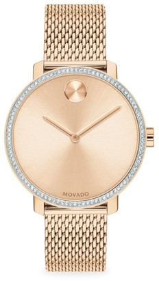 Movado Bold Rose Gold Ion-Plated Stainless Steel, Crystal & Mesh-Link Bracelet Watch