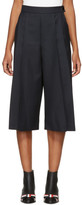 Thom Browne Navy Pleated Side Vent Culottes