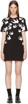 McQ by Alexander McQueen Black & White Swallows T-Shirt Dress