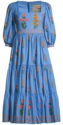 Agua Bendita The Wallflowers Miel Dahlia Embroidered Puff-Sleeve Dress