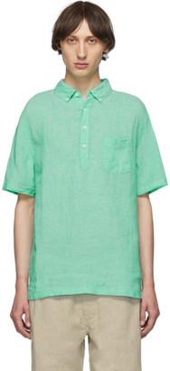 Onia Green Linen Josh Pullover Shirt