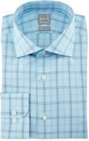 Ike Behar Large Windowpane-Check Woven Dress Shirt, Aqua/Navy
