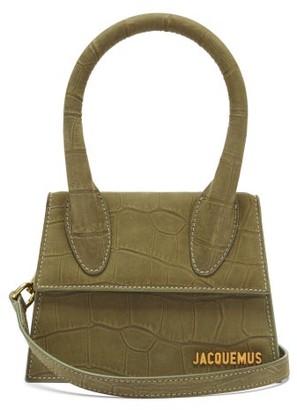 Jacquemus Chiquito Crocodile-effect Leather Bag - Khaki