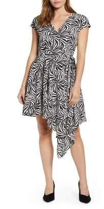 Vince Camuto Zebra Print Asymmetrical Wrap Dress