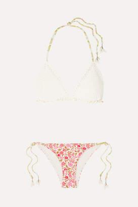 Zimmermann Goldie Crochet And Floral-print Triangle Bikini - Antique rose
