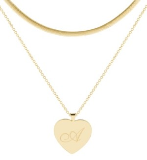 brook & york 14K Gold Plated Isabel Initial Layering Necklace Set
