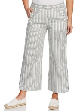 Rafaella Comfort Fit Linen Blend Stripe Crop Pant with Buttons