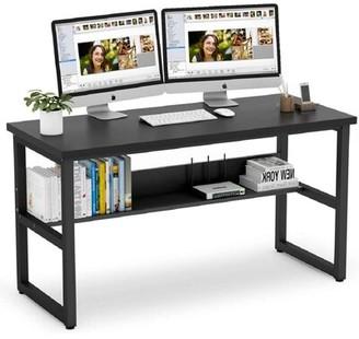 Inbox Zero Desk with Bookshelf Color: Black