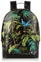 Gucci Tropical-print leather backpack
